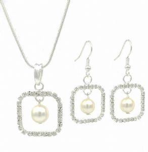 Swarovski Elements Sparkling Ladies Square Diamante Pearl Drop Earrings & Necklace Set - Bridal, Prom, Party Jewellery, Perfect Gift Idea for Christma